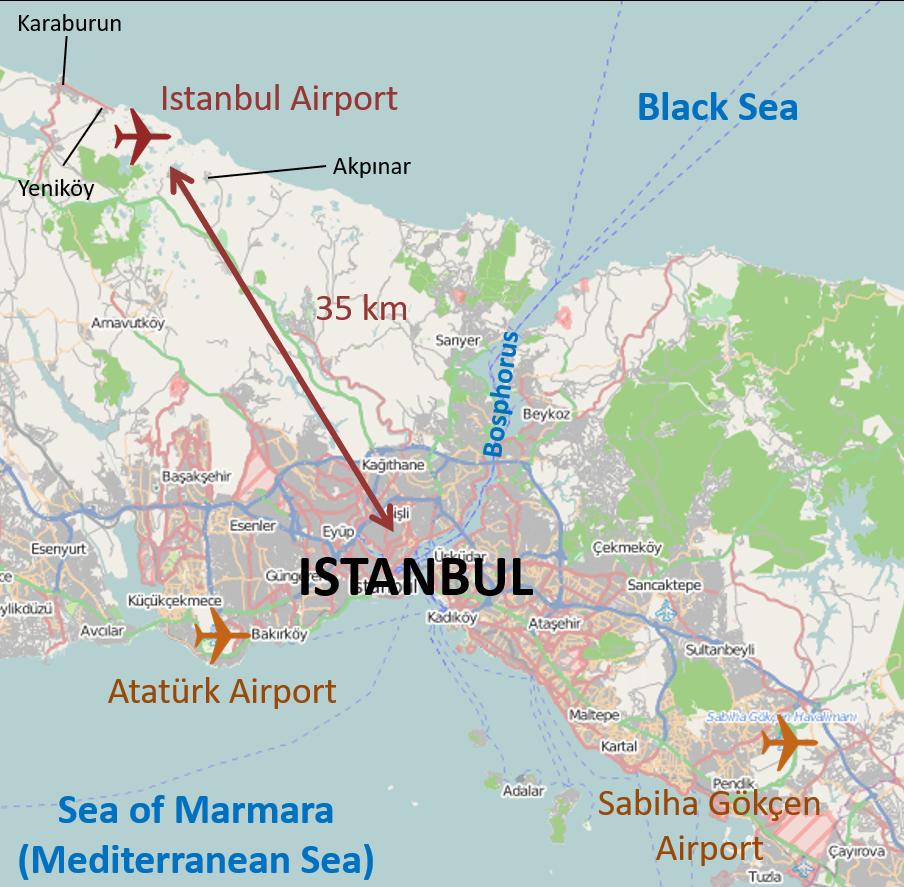 Lokacija Istanbul Grand Airport u odnosu na druga dva