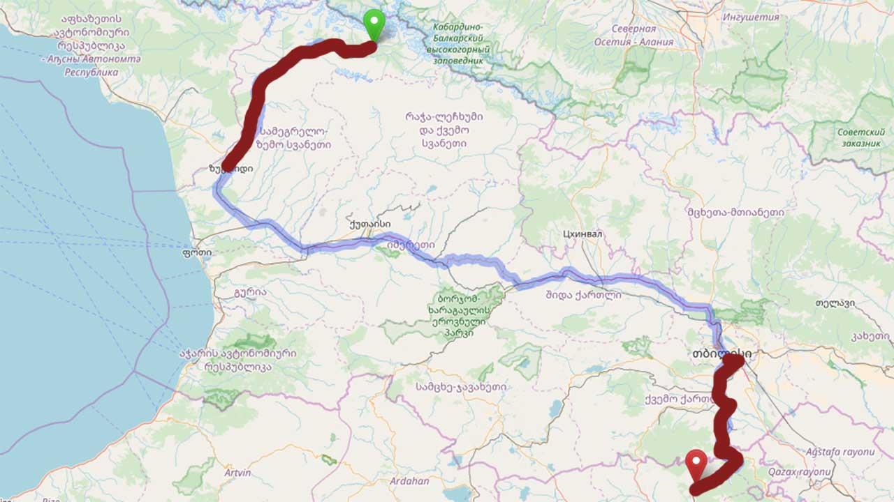 Mapa puta povratka: Crveno su maršutke, plavo je voz. Kako smo krenuli iz Tbilisija, pročitajte prvi deo putopisa