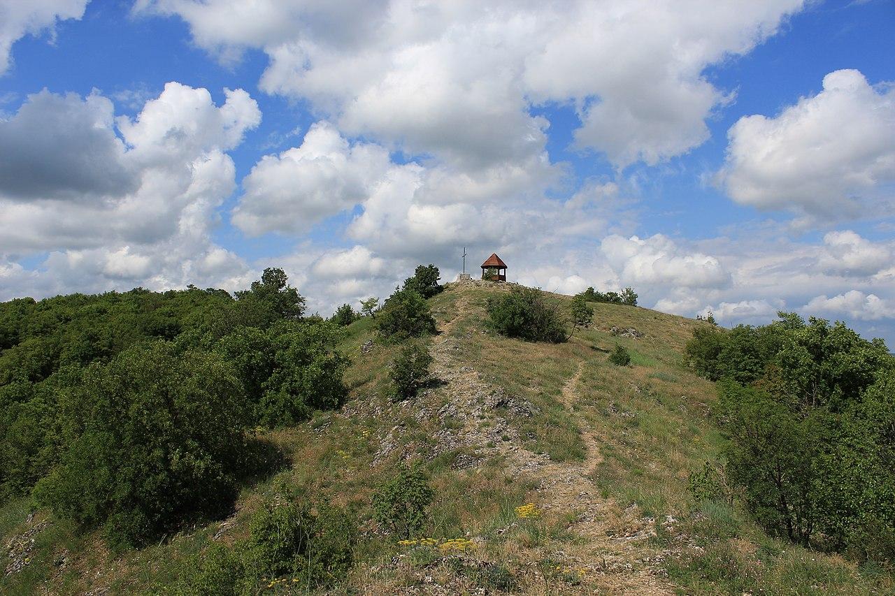Krst i drvena kućica na Popovici, iznad Sokobanje. Popovica je jedan od vrhova planine Device (443 m n.v.) foto: Geograf208 / Wikimedia